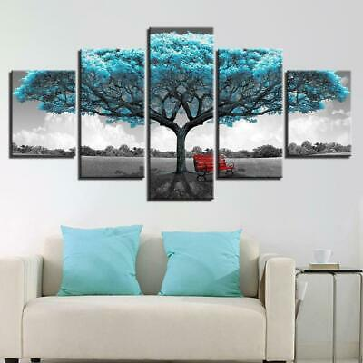 BLUE TREE RED CHAIR Canvas Art Print for Wall Decor and Painting of Scenic View