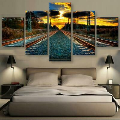 TRAIN TRACKS Canvas Art Print for Wall Decor and Painting of Scenic View Landsca