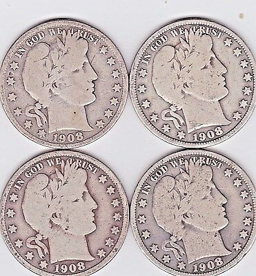 1908 P ,D, S , & O BARBER HALF DOLLARS in VERY GOOD condition ( 4 COINS )