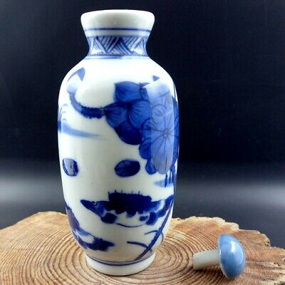 Chinese Collectible Blue And White Porcelain Lotus with fish Snuff Bottle big