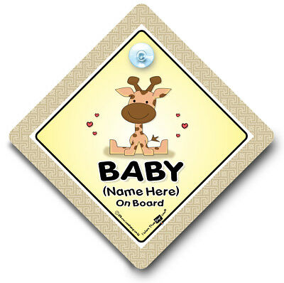 Baby Giraffe On Board, PERSONALISED Baby On Board Sign, Baby Car Window Sign