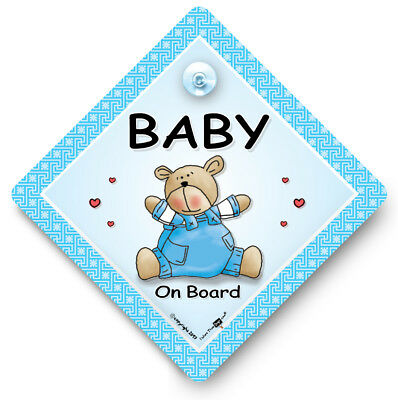 Baby On Board Car Sign, BLUE BEAR Car Sign, Baby On Board Sign, Suction Cup Sign