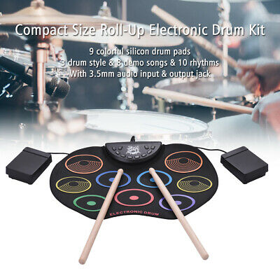 Compact Size Roll-Up Drum Set Electronic Drum Kit 9 Silicon Drum Pads T0N5