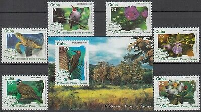 CARIBBEAN 2014 FLORA and FAUNA BIRDS FLOWER MNH SET with BLOCK in GOOD QUALITY