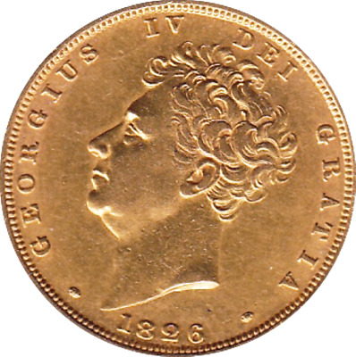 1826 George Iv Barehead Gold Sovereign  - Vf