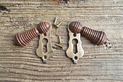 Pair Beautiful Antique Style Teak & Brass Beehive Escutcheon Door Keyhole Key N1
