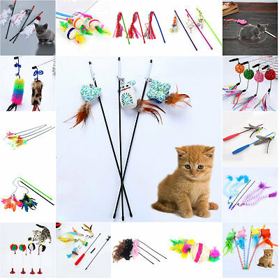 Funny Cat Kitten Teaser Colorful Feather Wire Chaser Pet Toy Wand Beads Play Hot