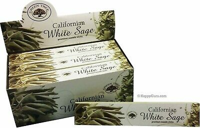 'Californian White Sage' Green Tree Incense Sticks 180gm (15gm x12) 12 Packets