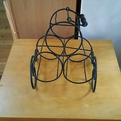 Vintage Rustic Black Metal Wine Bottle Holder