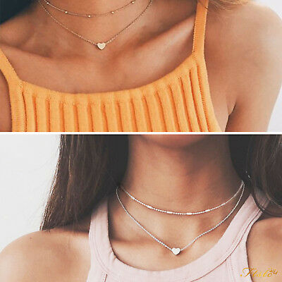 Silver Gold Necklace Double Layer Beaded Chain Choker Heart Pendant Girls Women