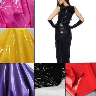 High Gloss Shiny PVC Faux Leather Fabric Elastic Stretch Costume Dress Making