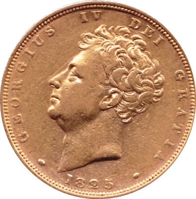 1825 George Iv Barehead 22 Carats Gold Sovereign  - Vf