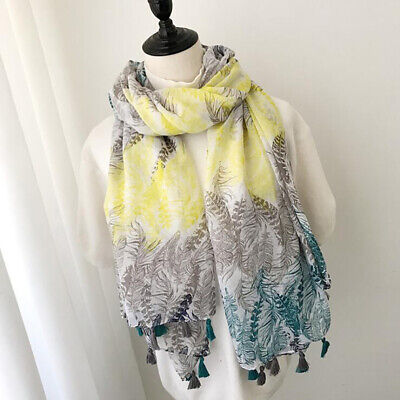 Women Leaf Embroidered Scarf Shawl Wrap Spring Summer Autumn Scarves 8C