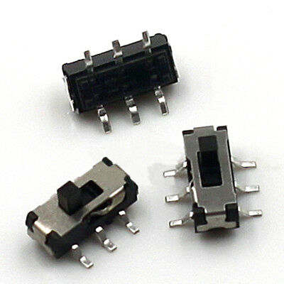 6 Pin DPDT 2P2T DVD Mini Vertical Slide Toggle Switch 2 Position 2mm Shaft SMD