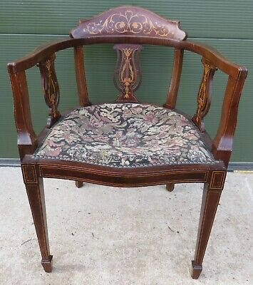 Antique Victorian Inlaid Mahogany Tub Chair with Lyre Supports - Needs Repair
