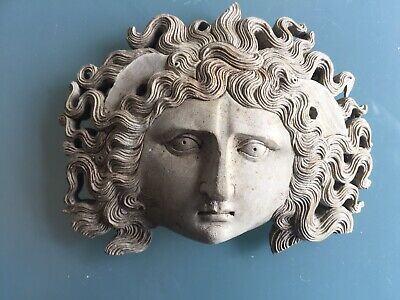 Antique Vintage Roman Women Medusa? Head With Curly Hair Sculpture 4x3 Inches