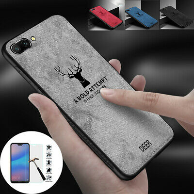 New Cloth Hybrid Case Cover + Glass Screen Proetector for Huawei Honor 10 9 Lite