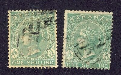 2x Bahamas #19- Used 1 Shilling Perf. 14 Wmk 1. Value= ??. See Scans.
