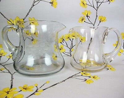 "Two vintage Clear Glass WATER / LEMONADE JUGS / PITCHERS. 5"" and 4.5"""