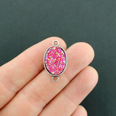 4 Hot Pink Druzy Connector Charms Sparkle Resin Antique Silver Tone - Z599
