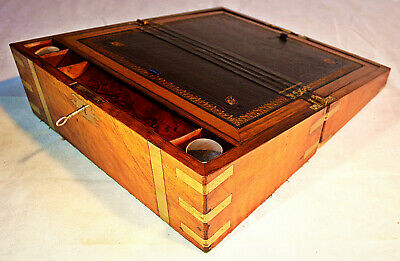 Mid 19th-Century Walnut Writing Slope with Inkwell, Key & Hidden Drawers, c 1860