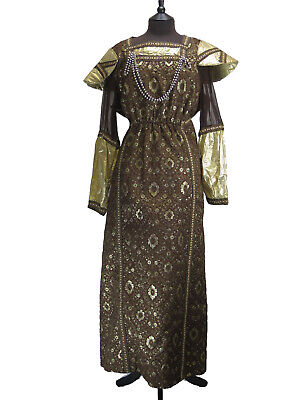 COSTUME Medieval Style Gold & Brown Theatrical Historical Dress Approx UK 16-18