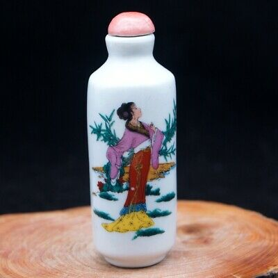 Chinese Collectible ceramics Handwork Ancient Beauty porcelain snuff Bottle