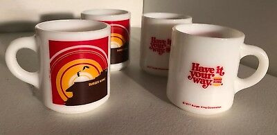 1977 Burger King Have It Your Way GlasBake Type 80's Fast Food Promo Cup Set 4