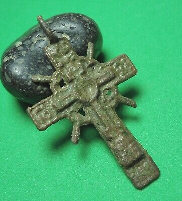 Ancient Bronze Cross Wearable Pendant Antique Rare C133