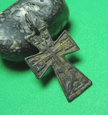 Ancient Bronze Cross Wearable Pendant Antique Rare C134