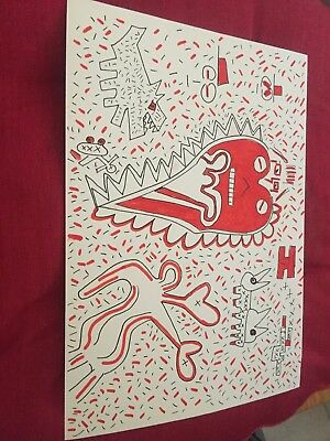 Pop Art Picture Orginal Ink Drawing A4 Style Of K Haring