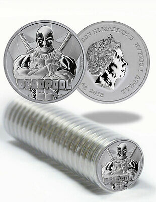Roll of 20 2018 Tuvalu Deadpool 1 oz Silver Marvel Series $1 Coins BU SKU55519