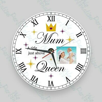 Personalised clock wall glass clock photo Mother's Day Gift Birthday, Christmas
