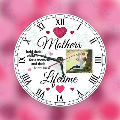 Personalised wall glass clock photo Mother's Day Present for Mum for Birthday