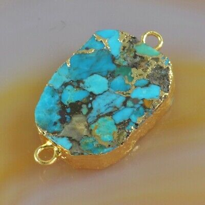 Blue Copper Turquoise Connector Gold Plated B078158