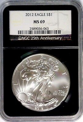 2012 NGC MS69 Silver Eagle Black Retro Black Core 25th Ann MS 69