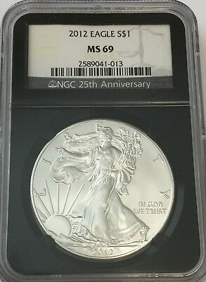 2012 Ngc Ms69 Silver Eagle Retro Black Core Ms 69 Gk#013