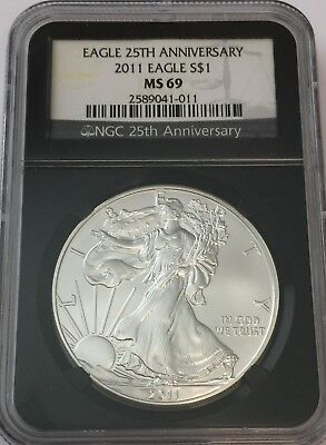 2011 Ngc Ms69 Silver Eagle 25Th Anniversary Black Core Ms 69 Gk#011