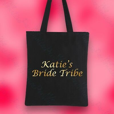 Personalised Tote Bag Black Gold Silver Pink Hen Party Bride Tribe Accessory