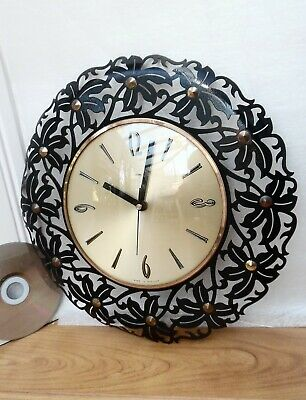70s METAMEC WALL CLOCK, Vintage GOLD & BLACK METAL, Retro ROUND FLOWER SUNBURST
