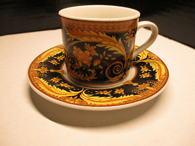 Valetta Black by Lynn's China Flat Demitasse Tea Cup & Saucer Set