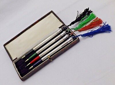 Vintage Set of 4 Sterling Silver Bridge Whist or Playing Card Pencils in Case