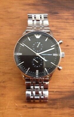 Stunning Emporio Armani Black Dial Chronograph Mens Watch AR0389