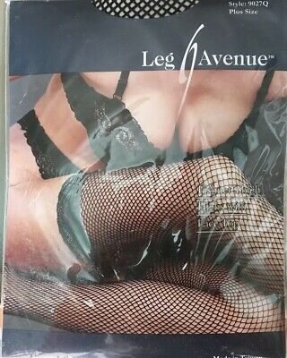 Lot 3 LEG AVENUE 9027Q Black FISHNET THIGH HIGH W/LACE Top BNIP