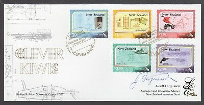 New Zealand Limited Edition Fdc Signed, 2007 Clever Kiwis, Technical Innovations