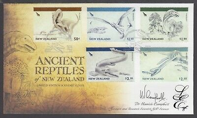 New Zealand Limited Edition Fdc Signed, 2010 Ancient Reptiles Of New Zealand