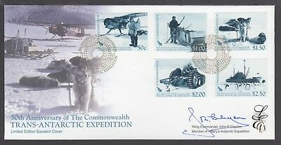 NEW ZEALAND LIMITED EDITION FDC SIGNED, 2007 TRANS-ANTARCTIC EXPEDITION 50th