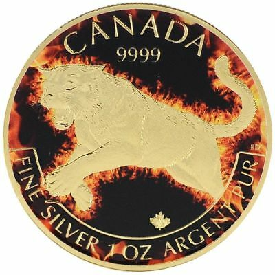 2016 1 Oz Ounce Canadian Cougar Colorized 24K Gold Gilded Coa Fire Flag