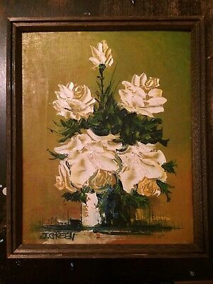 Original Oil Painting by J. Green White Tea Roses Textured Floral Still Life