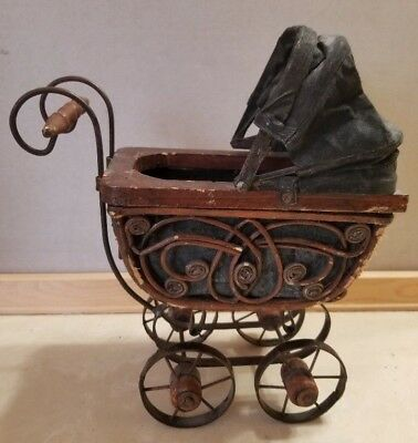 "Antique Victorian Wood and Iron Baby Doll Pram Buggy Stroller 11"" x 10.5"" x 5"""